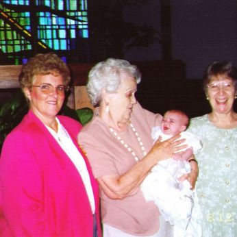 The Lovely Nana holds our second baby on the day of her Baptism. (She really liked Nana more than this picture implies!)